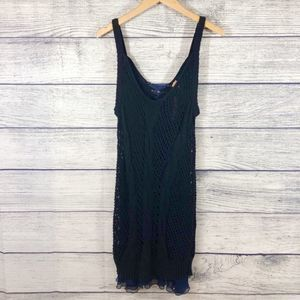 Free People Black Comb Lace Up Dress Large NWT